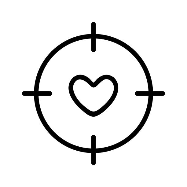 heart and sight icon vector. Isolated contour symbol illustration heart and sight icon vector. Thin line sign. Isolated contour symbol illustration macrophotography stock illustrations