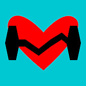 Heart and sports weight.