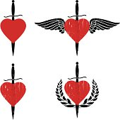 heart and sword emblems