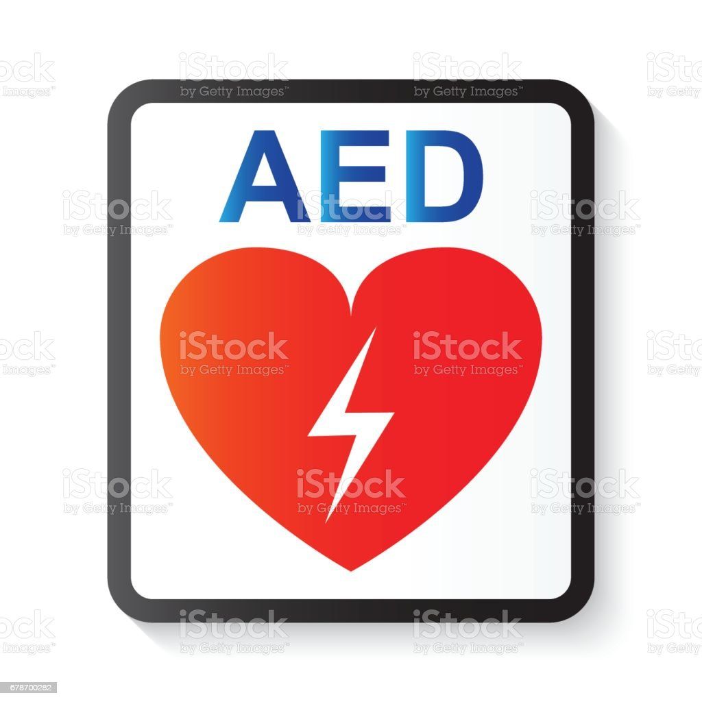 AED ( Automated External Defibrillator ) , heart and thunderbolt ( image for basic life support and advanced cardiac life support ) vector art illustration