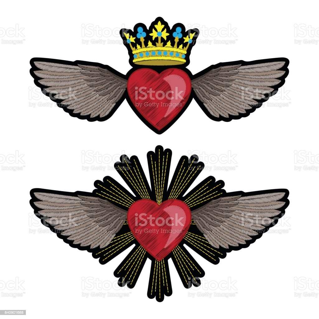 Herz Und Flügel Stickerei Patch Set Stock Vektor Art und mehr Bilder ...