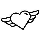 istock Heart Angel Line Icon, Outline Symbol Vector Illustration 1308877961