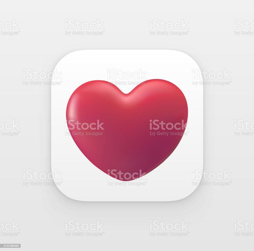 3D Heart  App icon vector art illustration