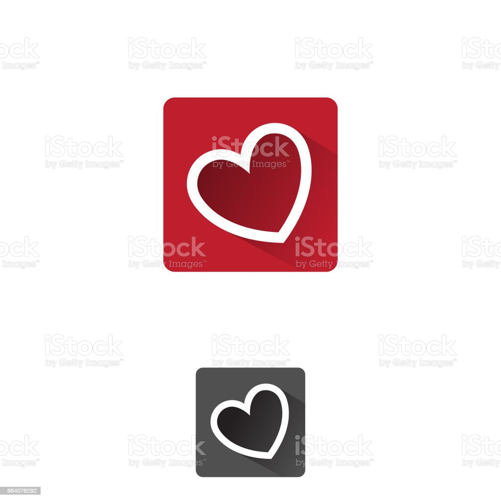 Heart, APP symbol of love and romantic feelings set vector concept design - Royalty-free Affectionate stock vector