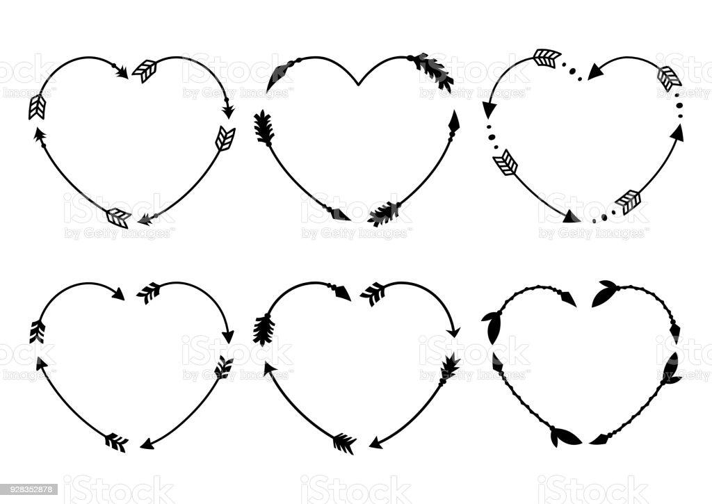 Heart Arrow Frames For Monograms Arrows In Boho Style Tribal Arrows ...