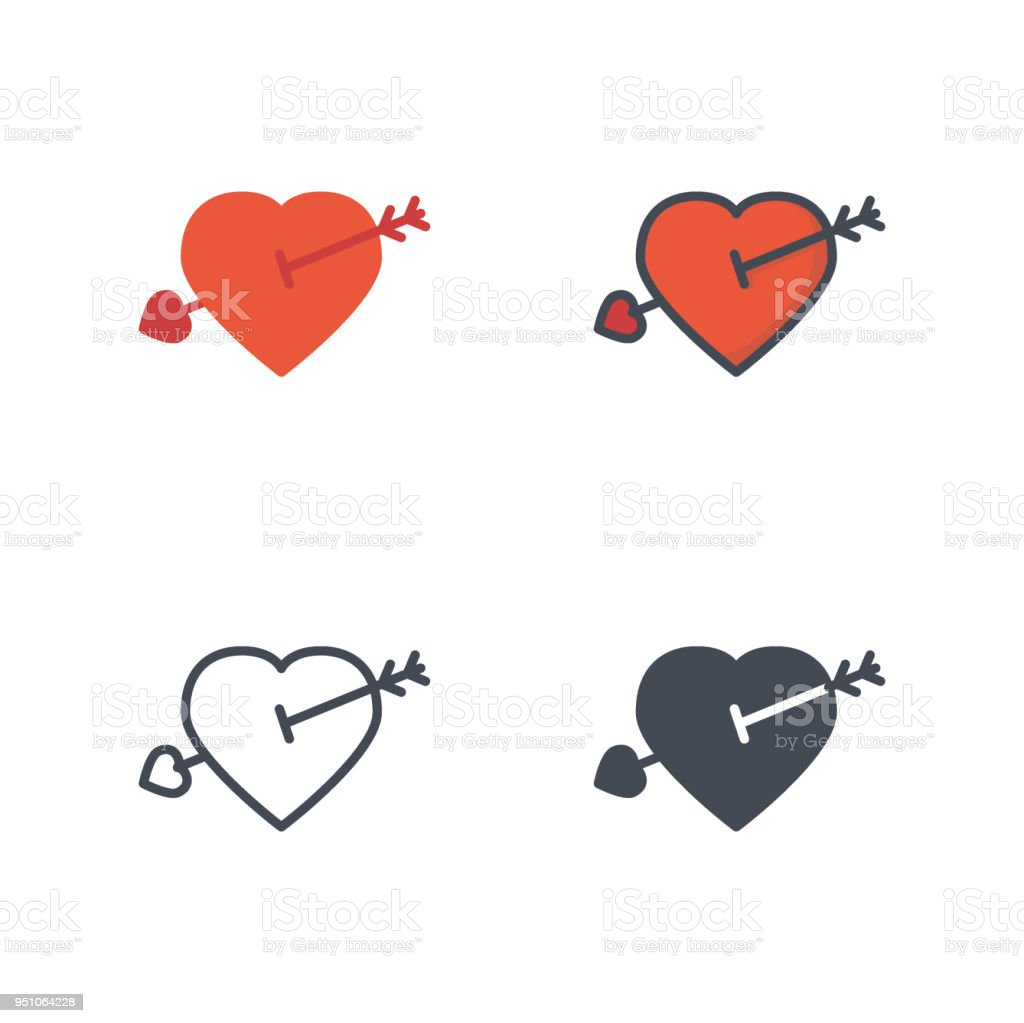 Heart Arrow Valentines Day Holidays Icon Vector Flat Icon Silhouette