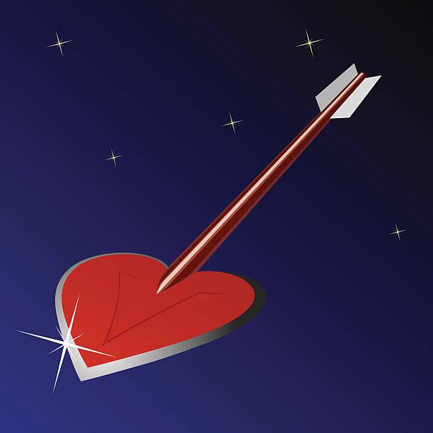 Heart arrow vector art illustration