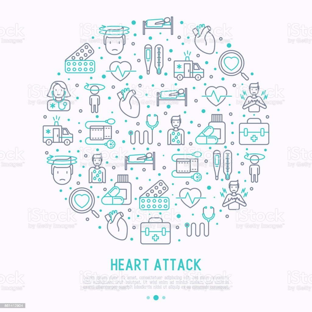 Heart attack concept in circle with thin line icons of symptoms and treatments. Modern vector illustration for medical report or survey, banner, web page, print media. vector art illustration