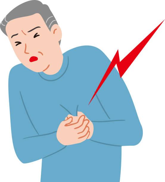 Heart attack senior citizen vector art illustration