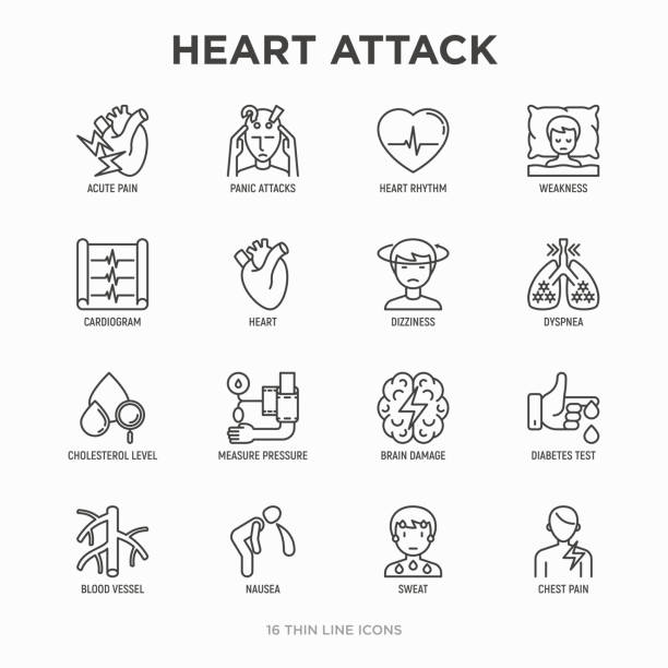 Heart attack symptoms thin line icons set: dizziness, dyspnea, cardiogram, panic attack, weakness, acute pain, cholesterol level, nausea, diabetes. Modern vector illustration. Heart attack symptoms thin line icons set: dizziness, dyspnea, cardiogram, panic attack, weakness, acute pain, cholesterol level, nausea, diabetes. Modern vector illustration. cholesterol stock illustrations