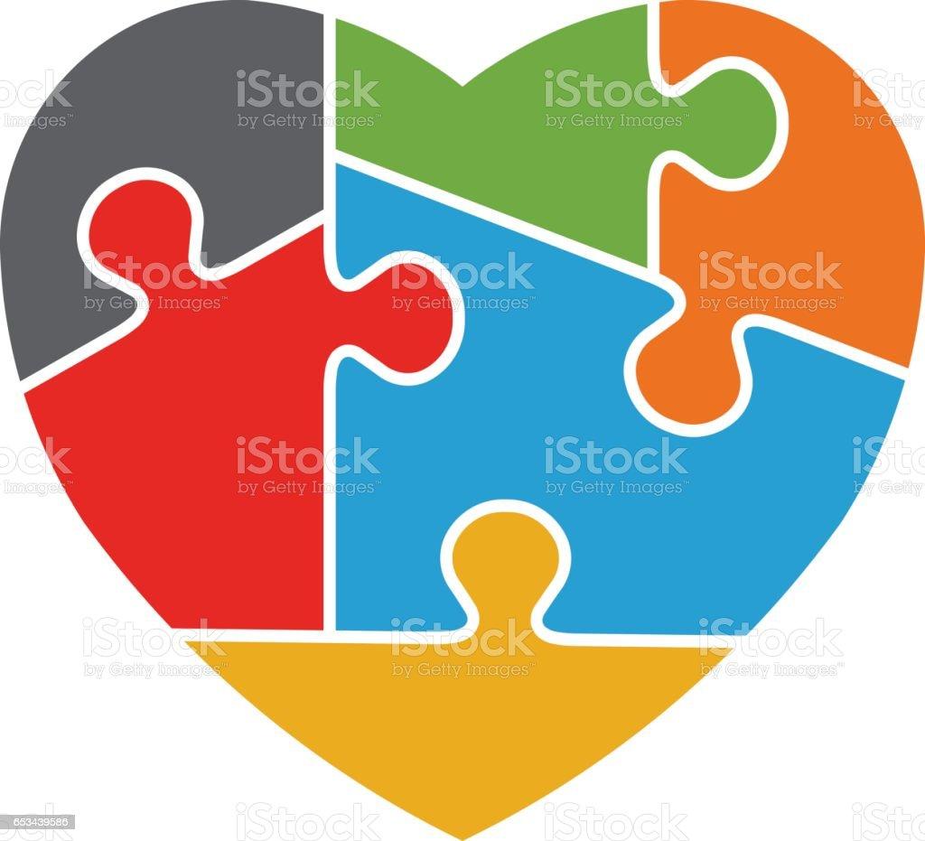 Design de logotipo de sensibilização de autismo de coração - ilustração de arte em vetor
