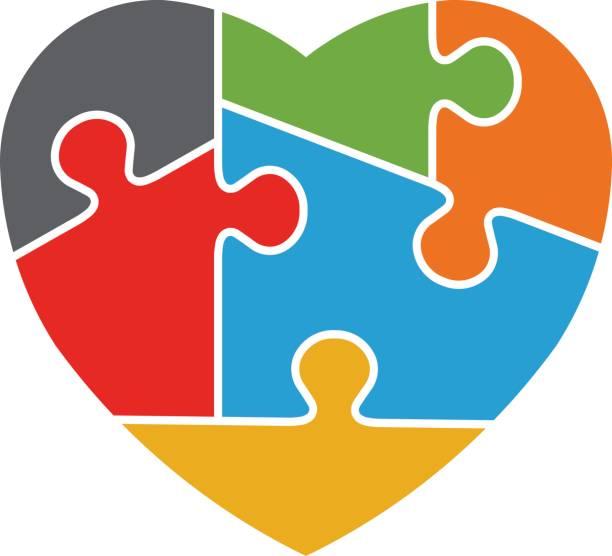 Heart Autism Awareness Logo Design vector art illustration