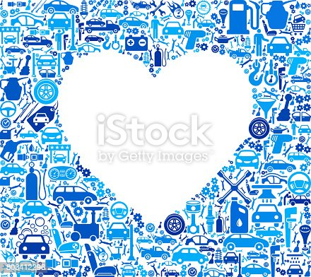 Heart Auto repair cars and automotive Icons Background. The main object of this royalty free illustration is the composed of vector icon pattern. These auto repair and automotive icons vary in size and form a seamless composition.  This illustration is conceptual and ideal mechanic, auto shop and auto repair businesses. Each icon can be used independently from the background set. The icons include such popular automotive images as a car, truck, auto repair shop and many more.