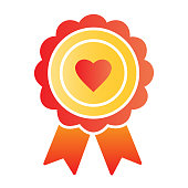Heart award flat icon. Medal with heart color icons in trendy flat style. Surprise package gradient style design, designed for web and app. Eps 10