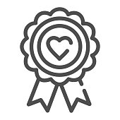 Heart award line icon. Medal with heart vector illustration isolated on white. Medal prize outline style design, designed for web and app. Eps 10