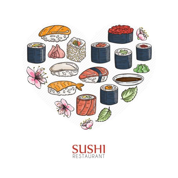 心の背景に寿司、ロール。日本の伝統的な料理のイラスト。 - わさび点のイラスト素材/クリップアート素材/マンガ素材/アイコン素材
