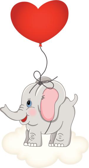 Heart balloon lifting up baby elephant