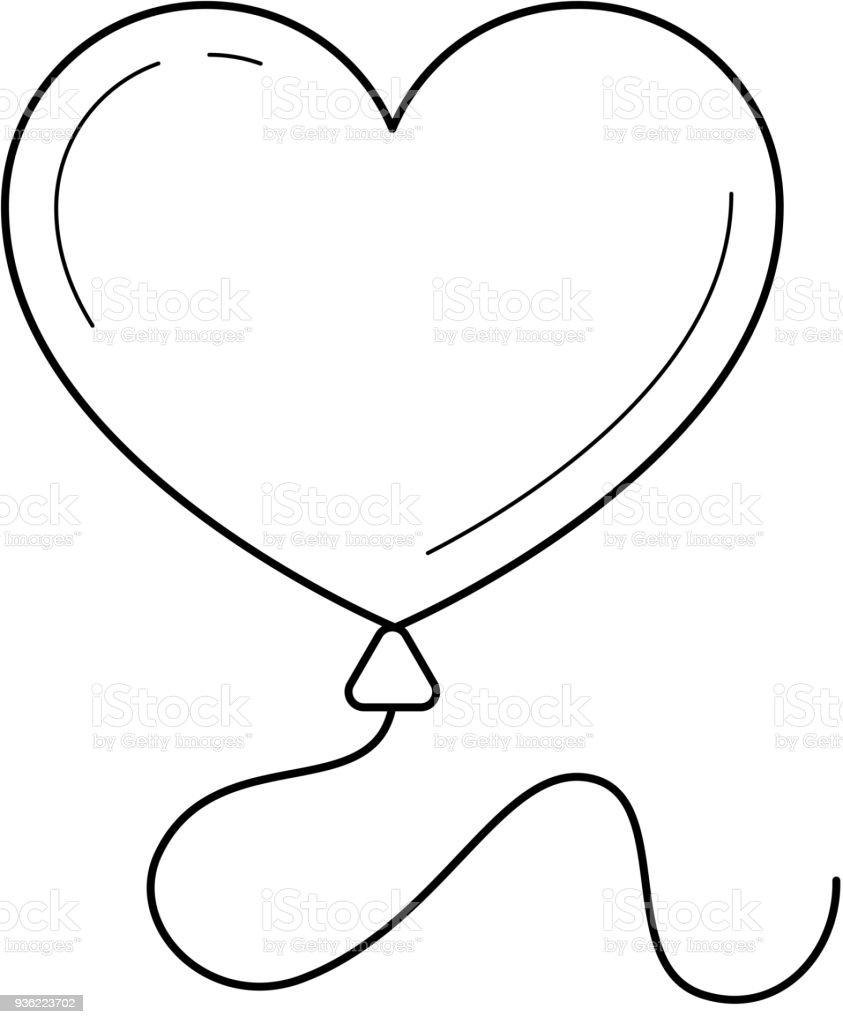 hart ballon vector lijn pictogram stockvectorkunst en meer