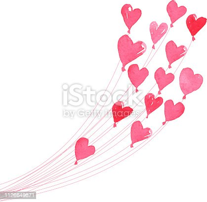painted style valentine's day heart balloons love symbol design element