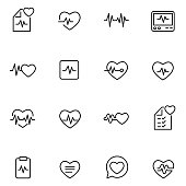 Heart beat icon set , vector illustration