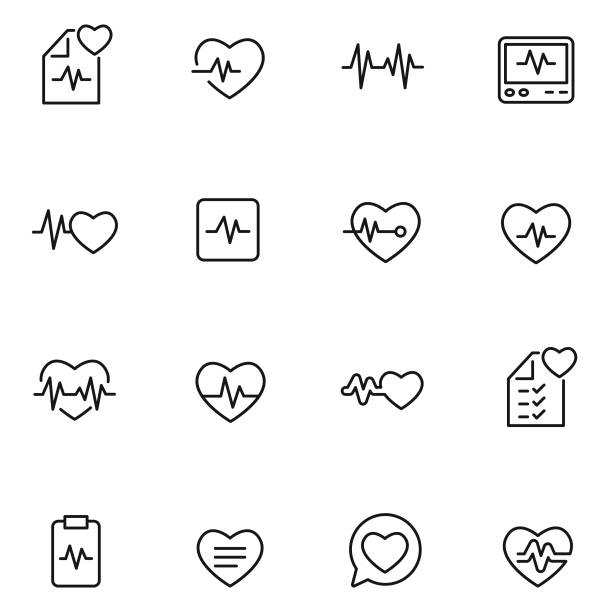 illustrazioni stock, clip art, cartoni animati e icone di tendenza di heart beat icon set - elettrocardiogramma
