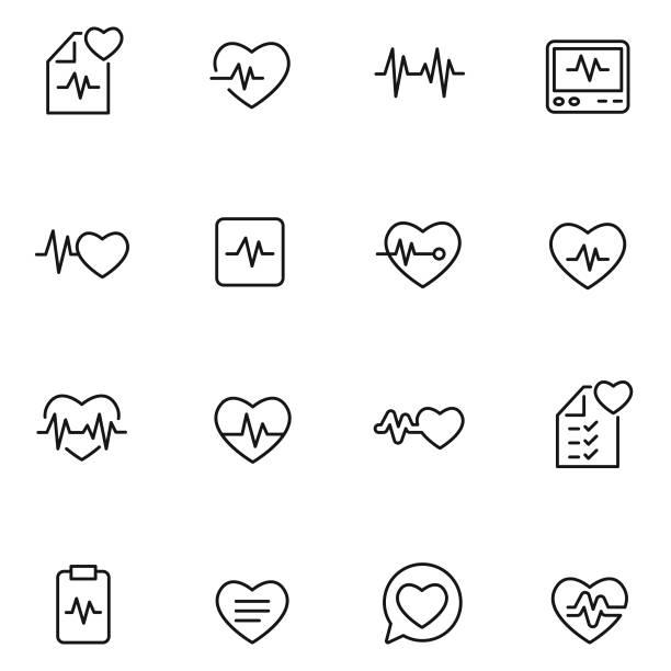 Heart beat icon set Heart beat icon set , vector illustration pulse trace stock illustrations