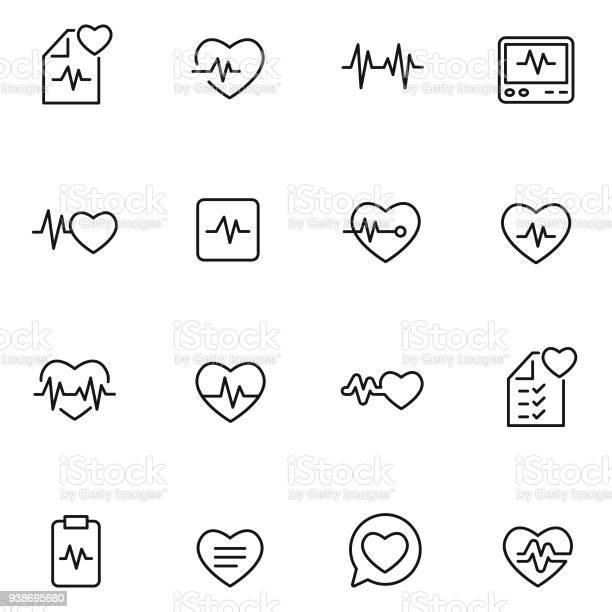 심장 박동 아이콘 세트 건강관리와 의술에 대한 스톡 벡터 아트 및 기타 이미지