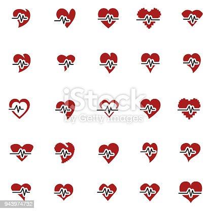 Heart beat icon set , vector illustration