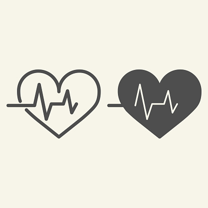 Heart beat line and solid icon. Cardiogram life line outline style pictogram on white background. Heart pulse for mobile concept and web design. Vector graphics.