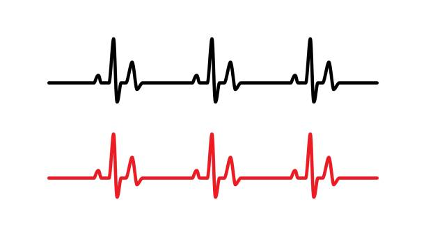 Heart beat line Heart beat line red and black - Vector pulse trace stock illustrations