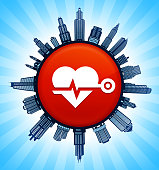 Heart Beat on Modern Cityscape Skyline Background. The main image depicted is placed on a shiny round button. The button is in the center of the illustration. a detailed 100% vector cityscape skyline is placed around the circumference of the button and includes various office, residential condominium and commercial real estate buildings. There is a blue sky background with a star burst glow rendered behind the buildings. The image is ideal for displaying city life concepts and ideas.