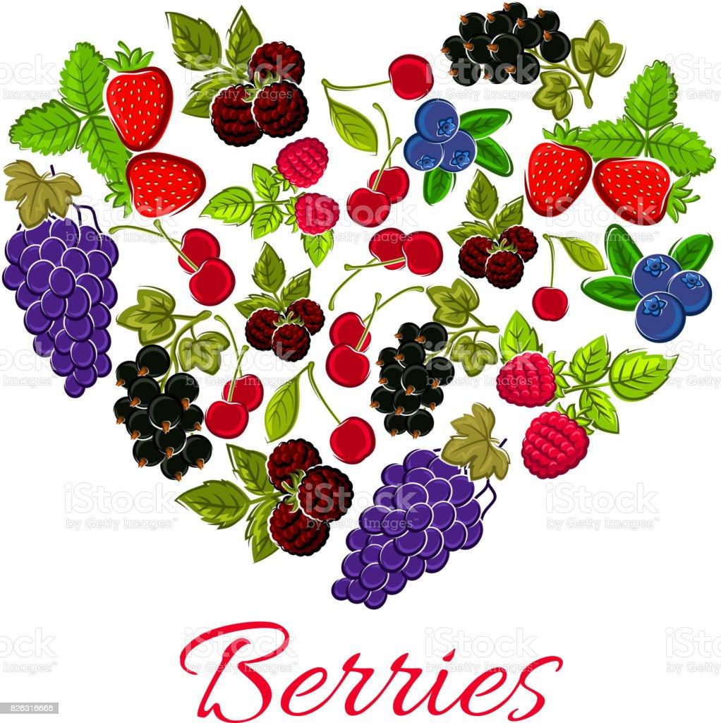 Heart berries of strawberry, grape, blueberry vector art illustration