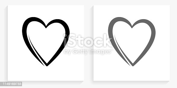 Heart Black and White Square Icon. This 100% royalty free vector illustration is featuring the square button with a drop shadow and the main icon is depicted in black and in grey for a roll-over effect.
