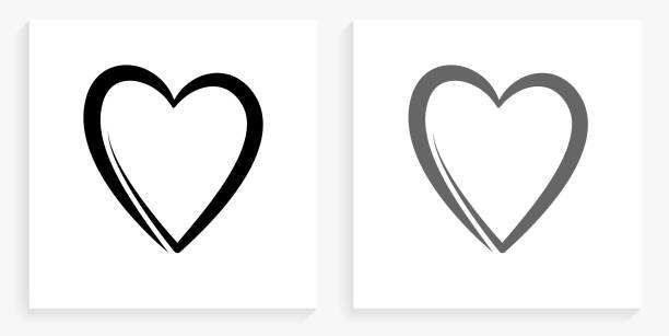 Heart Black and White Square Icon vector art illustration