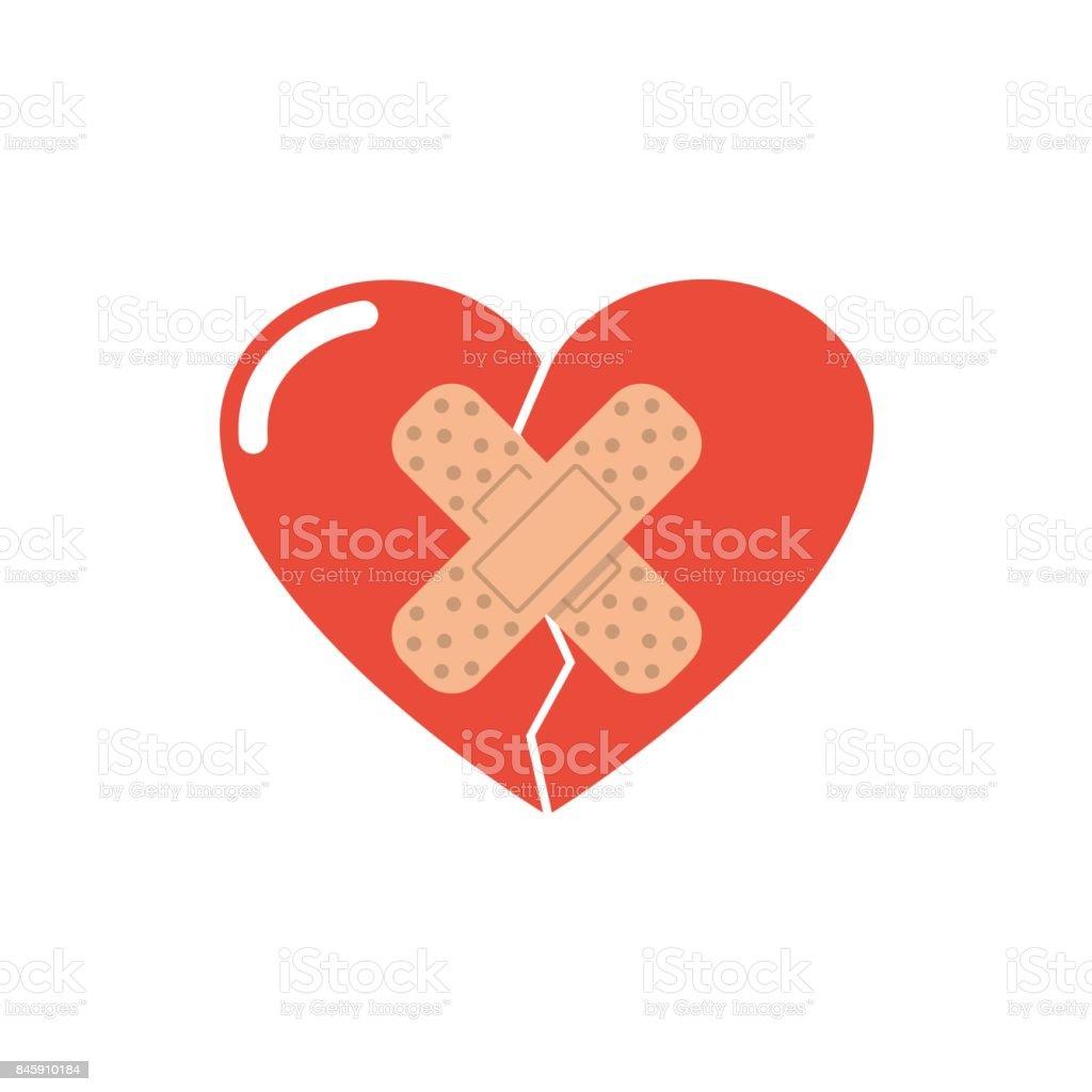 Heart break seal the plaster vector art illustration
