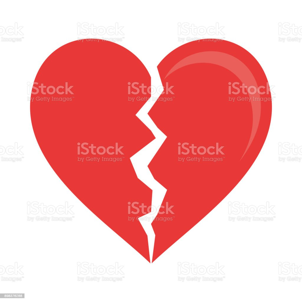 Heart broken symbol vector art illustration