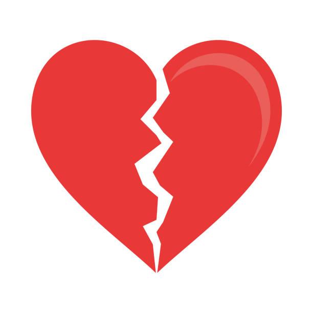 stockillustraties, clipart, cartoons en iconen met gebroken hartsymbool - liefdesverdriet