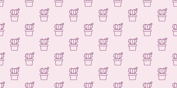 Heart cactus seamless repeat pattern background.