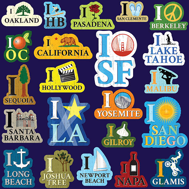 I heart California Series of graphics using icons from California Locations and Cities. oakland stock illustrations