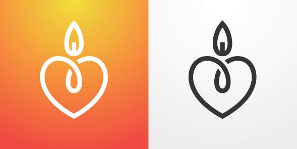 Heart candle light symbol
