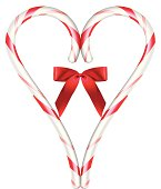 Heart Candy Cane - Vector Illustration