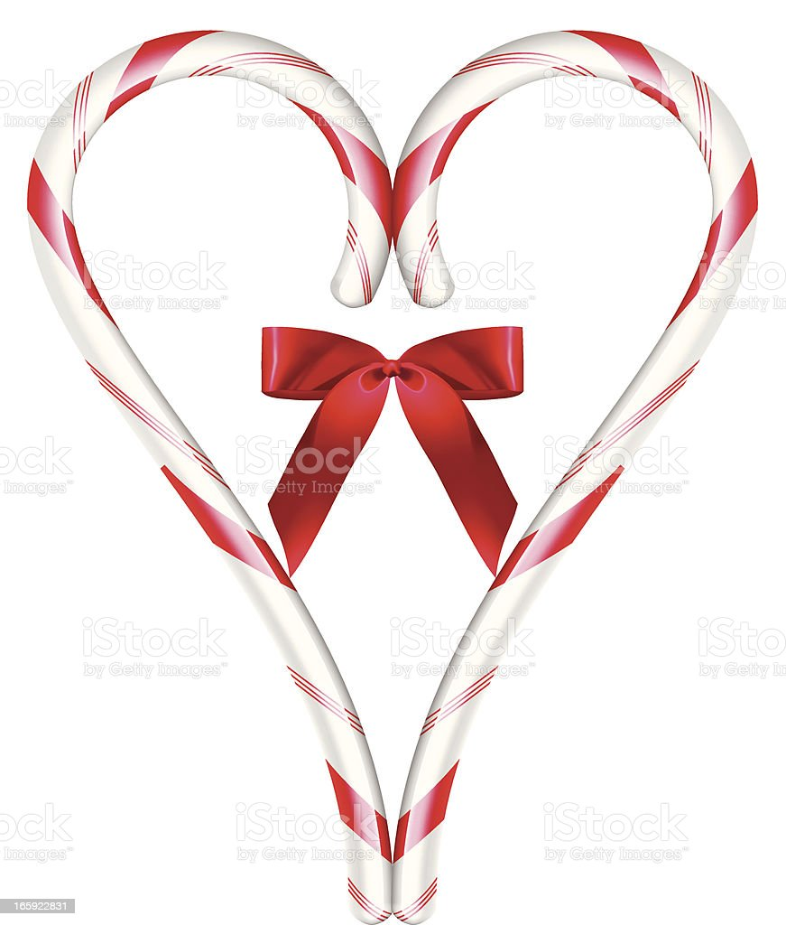 Heart Candy Cane - Vector Illustration vector art illustration