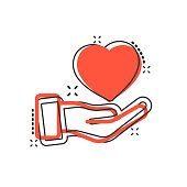 Heart care icon in comic style. Charity vector cartoon illustration on white isolated background. Love in hand business concept splash effect.