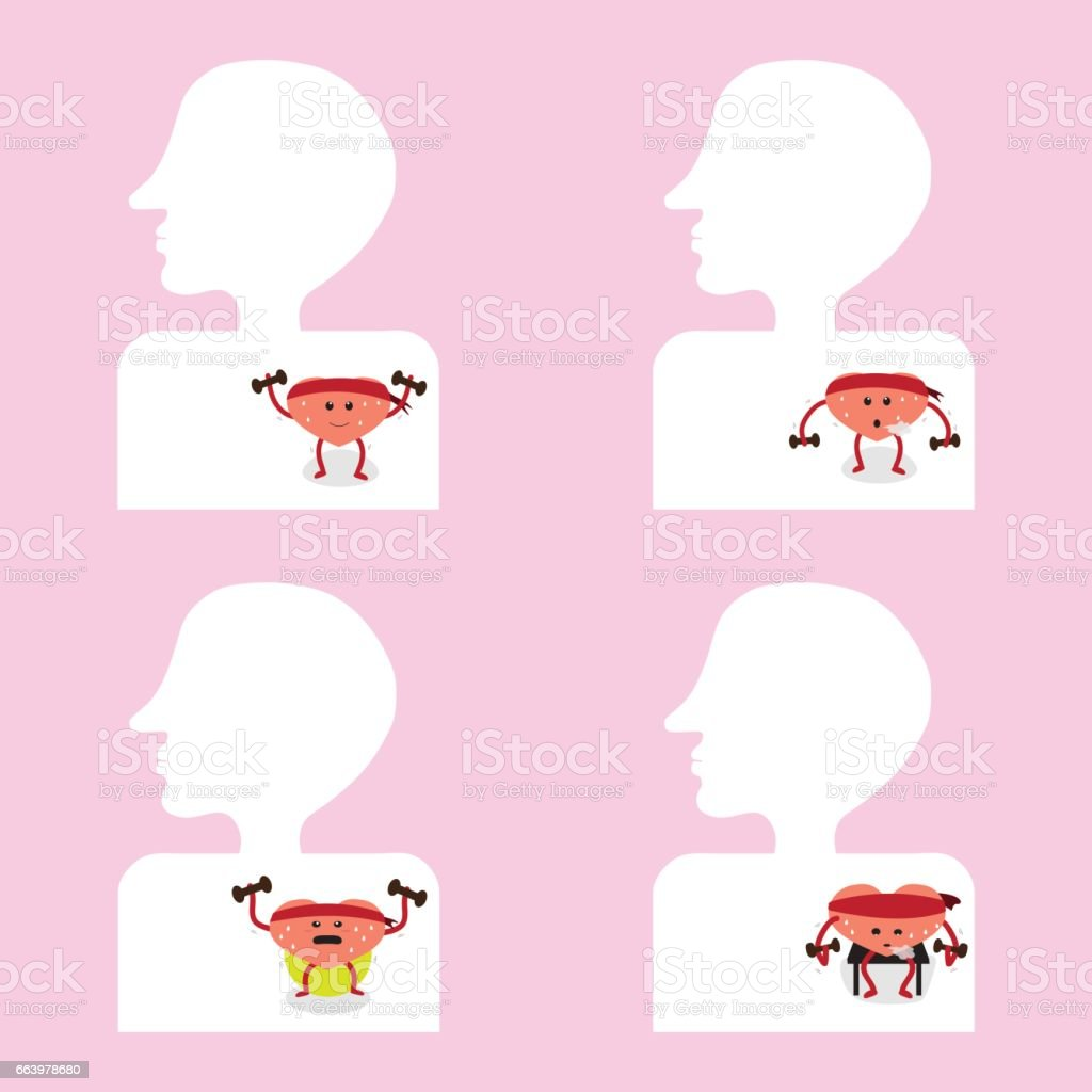 Heart Cartoon Exercise Inside Body Stock Vector Art More Images Of