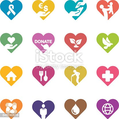 Heart Charity and Relief Work Colour Harmony icons