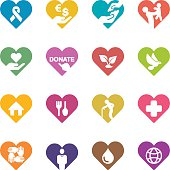 Heart Charity and Relief Work Colour Harmony icons | EPS10