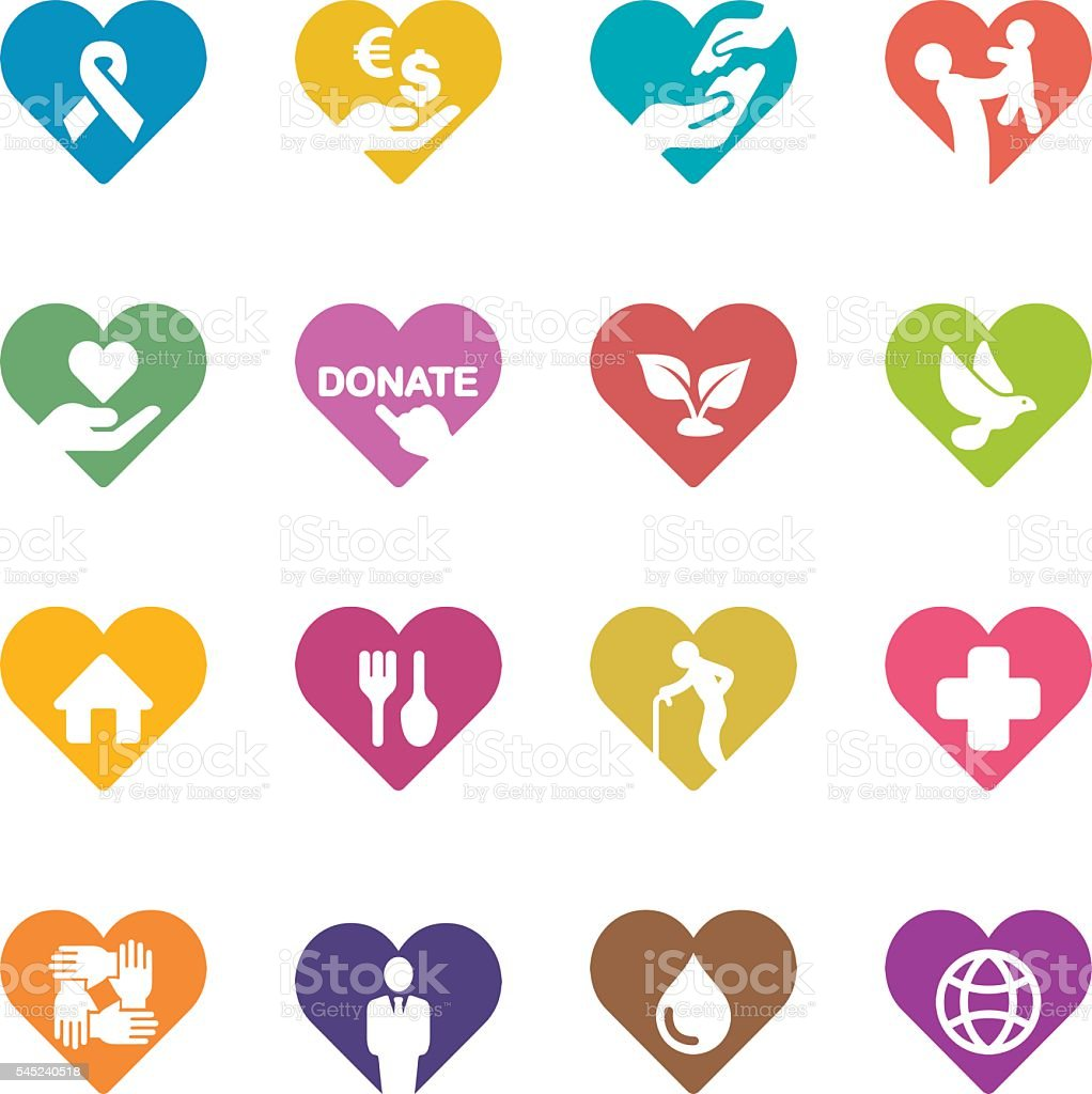 Heart Charity and Relief Work Colour Harmony icons | EPS10 vector art illustration