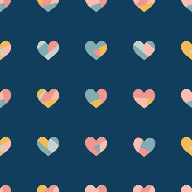 Heart collage seamless vector pattern. Contemporary collage of hearts. Paper cut out style. Modern abstract background pink coral gold blue. Use for love, kids, fabric, decor, card, Valentines day vector art illustration