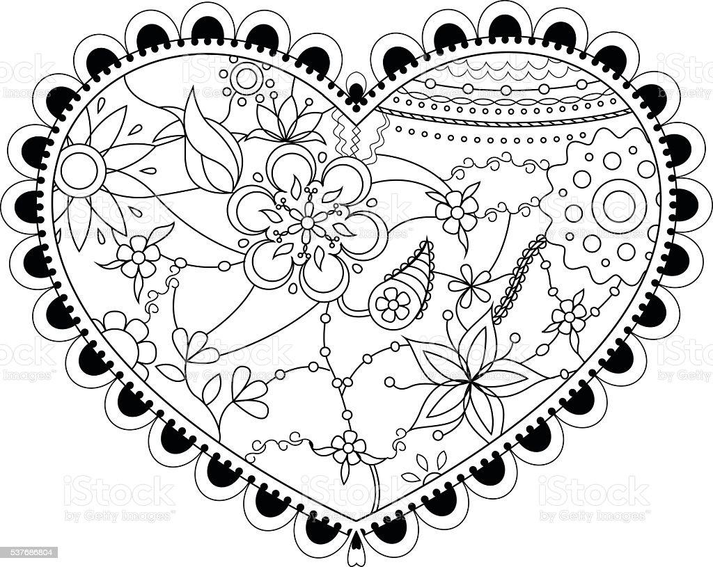 Corazón Para Colorear - Arte vectorial de stock y más imágenes de ...