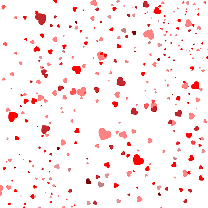 Heart confetti falling down isolated